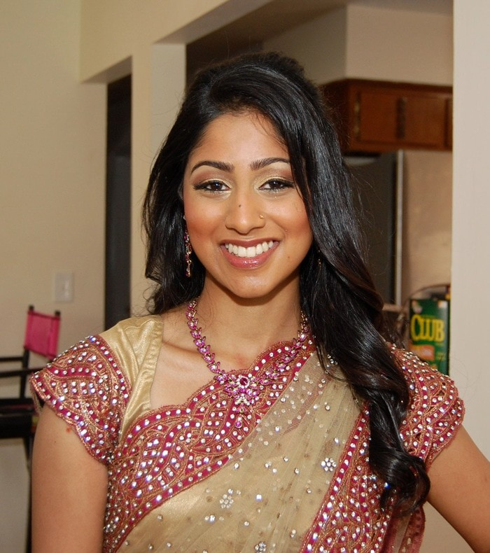 Natural makeup on this Indian bride at her engagement party in Long Island, NY - bridal makeup and hair by Naz Beauty