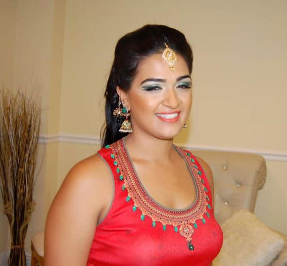 Sangeet makeup and hair for sister of the groom at Chateau La Mer