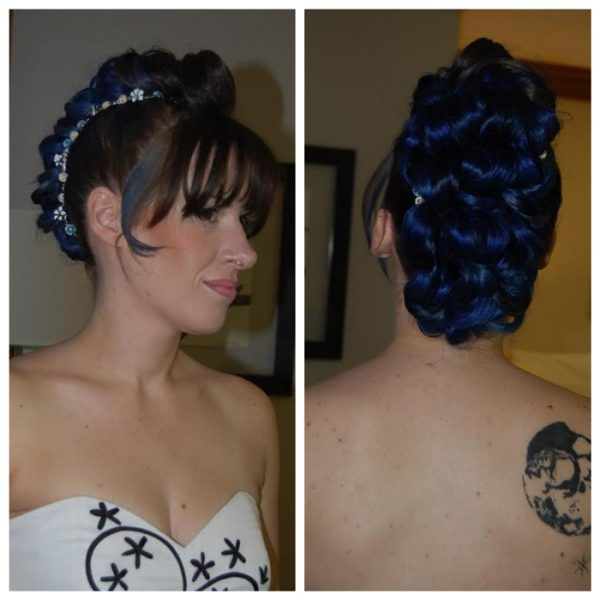 Mohawk curls for this non-traditional bride at her wedding in CT