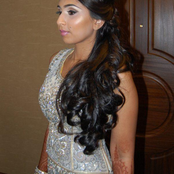 Bridal reception hair - cascading curls on side
