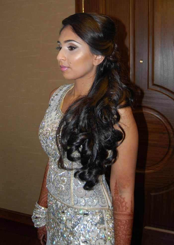 Bridal reception hair - cascading curls on side