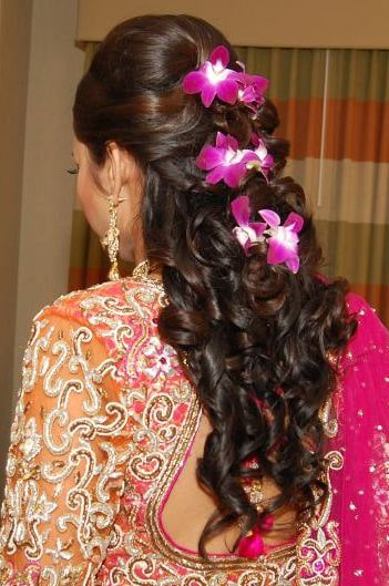 Bridal reception hair - curls with real flowers