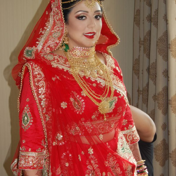 Wedding day hair and makeup for Indian bride