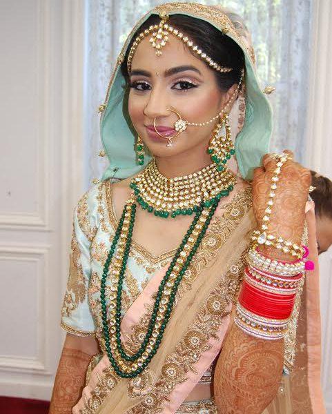 Sikh bridal hair and makeup at the Glen Cove Gurudwara