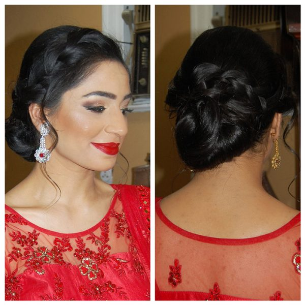 Punjabi engagement party - braided bun