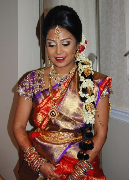South Indian bridal makeup and hair at Hilton Pearl River