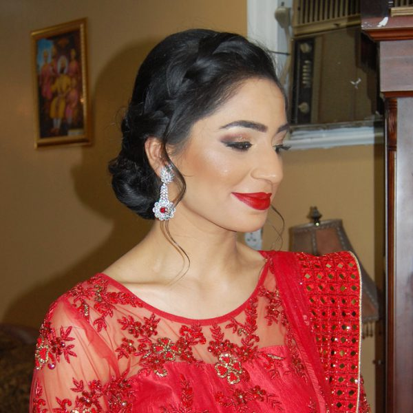 Valentine's Day classic punjabi engagement party hair and makeup at Mint in Garden City, NY