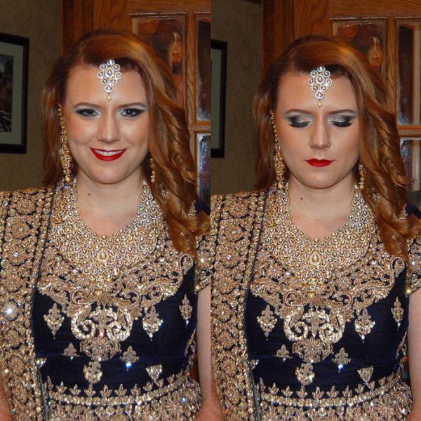 Bold glam makeup for this bride on her reception day in Old Westbury, NY - bridal makeup and hair by Naz Beauty