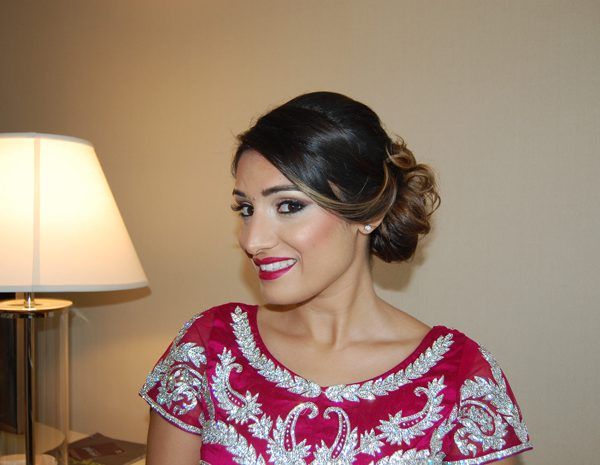 Signature red lips on the sister of the groom at the Sheraton in Mahwah, NJ - wedding party makeup and hair by Naz Beauty