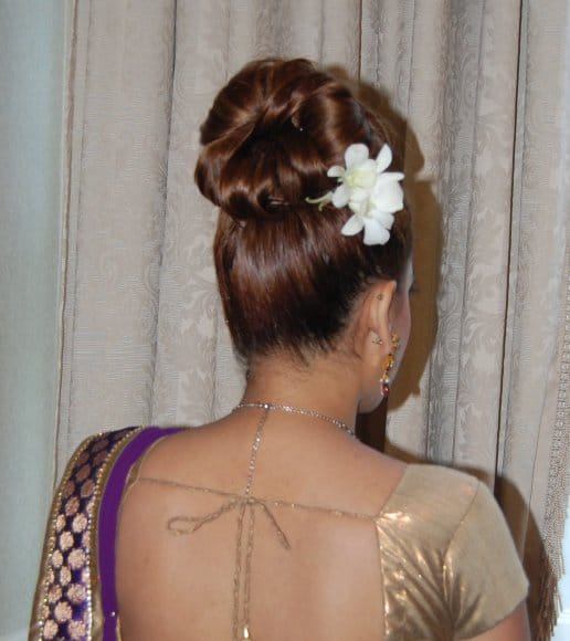 High bun for this bridesmaid - Indian wedding in NJ