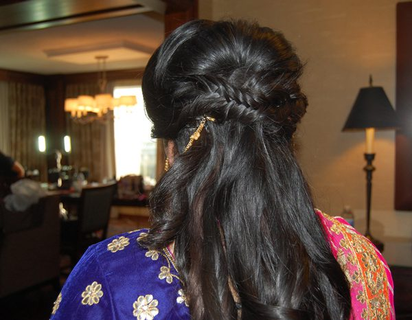 Sangeet bride - half up fishtail braid