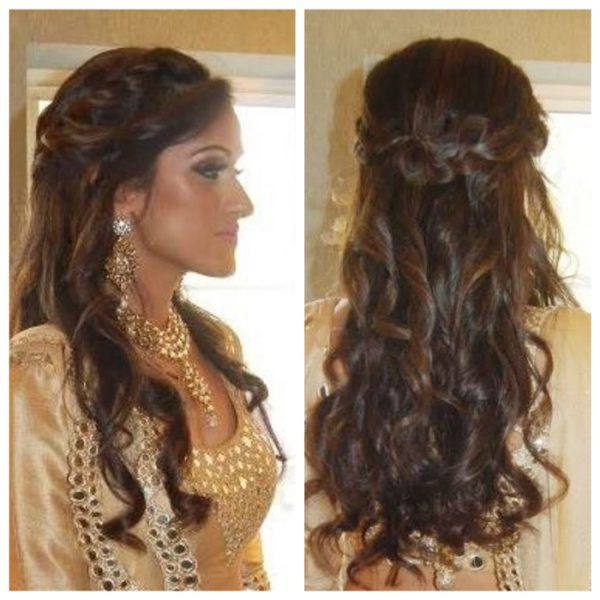 Bridal half updo at wedding reception - bridal hair and makeup by Naz Beauty