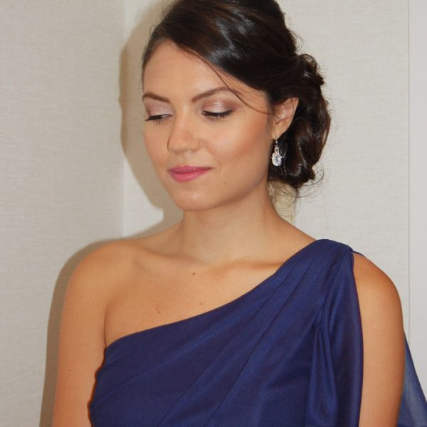 Natural makeup for this beautiful bridesmaid in Old Greenwich, CT - wedding party hair and makeup by Naz Beauty