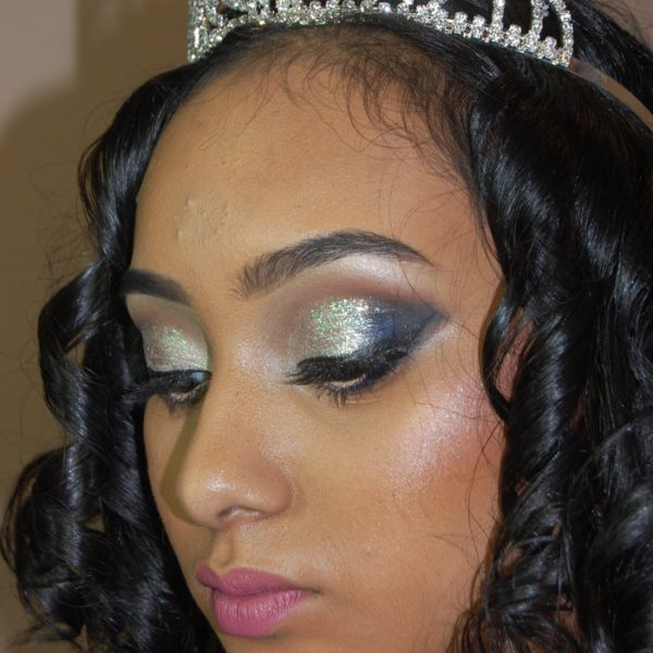 Bold bling eyes with lots of glitter for this sweet 16 princess at the Golden Terrace in Richmond Hill, NY - makeup by Naz Beauty