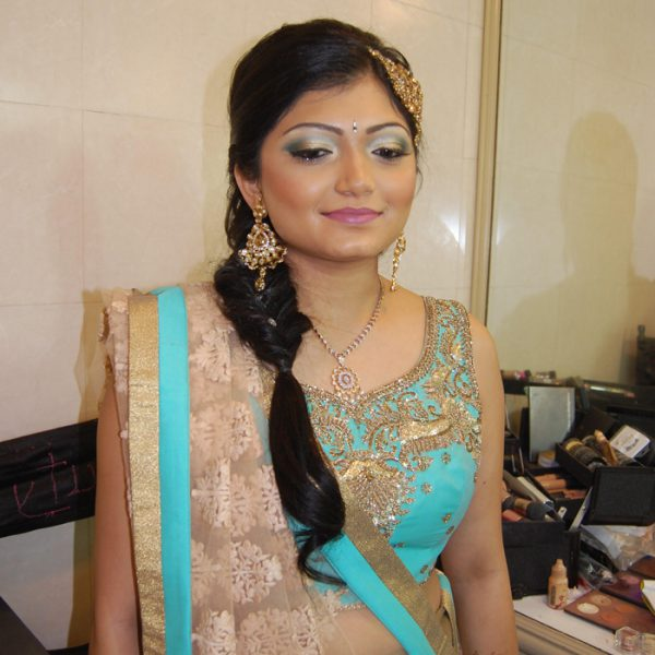 Soft glam makeup and hair for this bride at her sangeet night at the Cotillion in Jericho, NY