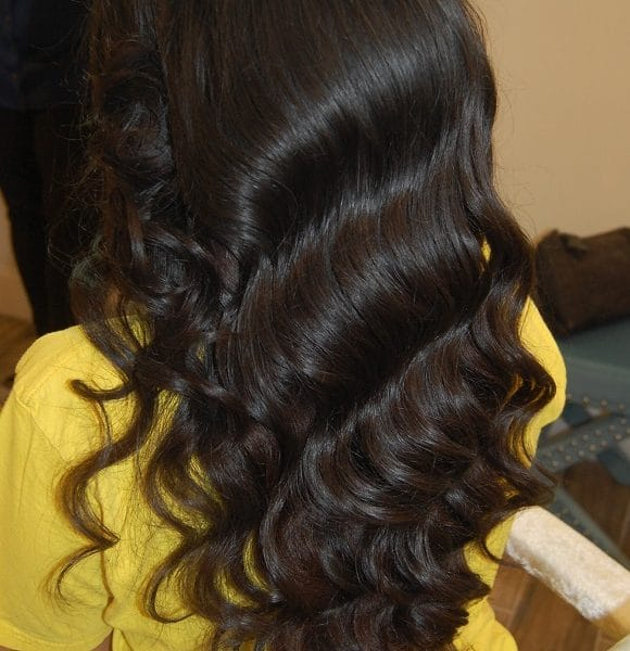 Hollywood waves for this bride in East Meadow, NY