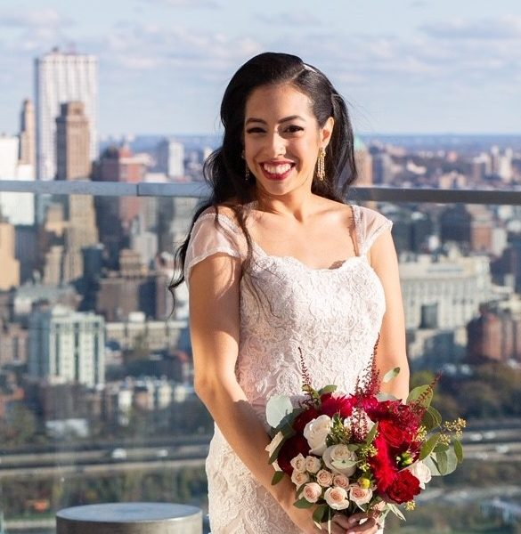 Lovely bride on top of the Andaz Hotel Wall St in NYC - loving her hair and makeup done by yours truly.