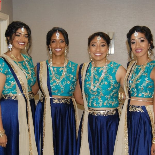 Bridesmaids ready with their hair and makeup done by Naz Beauty